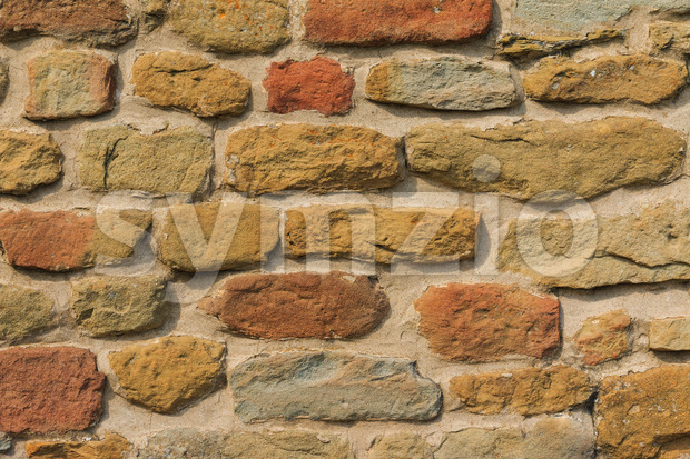 Medieval brick wall close up Stock Photo