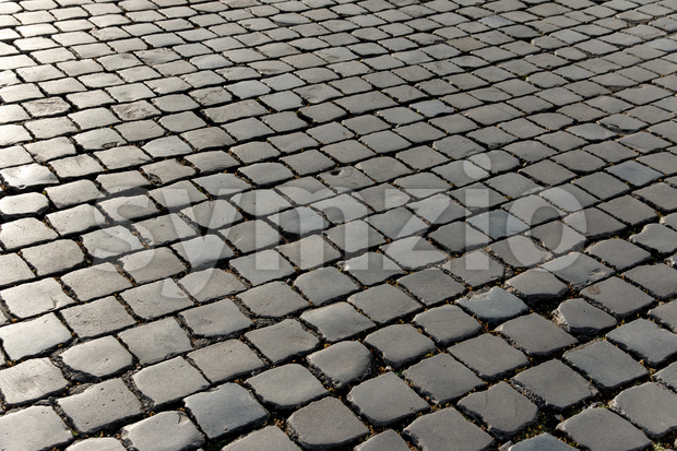 Pattern old cobbled stone square Stock Photo