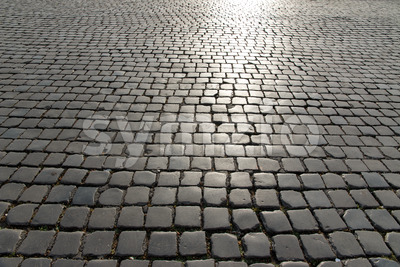 Huge square old cobbled stones Stock Photo