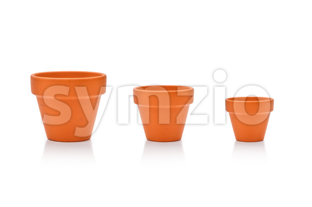 Set different site flower pots isolated on white Stock Photo
