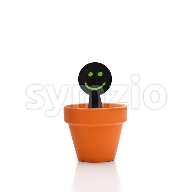Smiling green black puppet flower pot Stock Photo