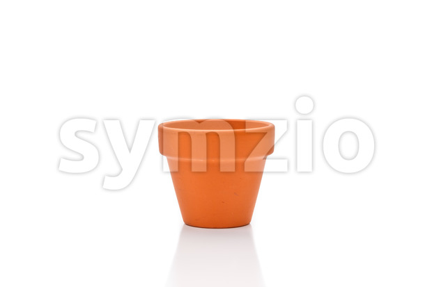 Terracotta flower pot isolated on white Stock Photo