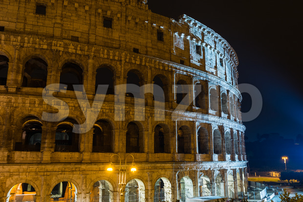 View Colosseum Rome during light show Stock Photo
