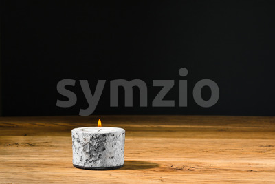Tealight or candle in holder kitchen table Stock Photo