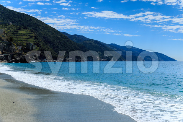 Gravel beach near Cinque Terre Italy Stock Photo