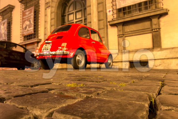 ROME, ITALY - MAY 10, 2016: Old streets of Rome with Fiat 500 in Stock Photo