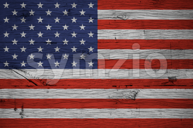 USA American national flag painted old oak wood Stock Photo
