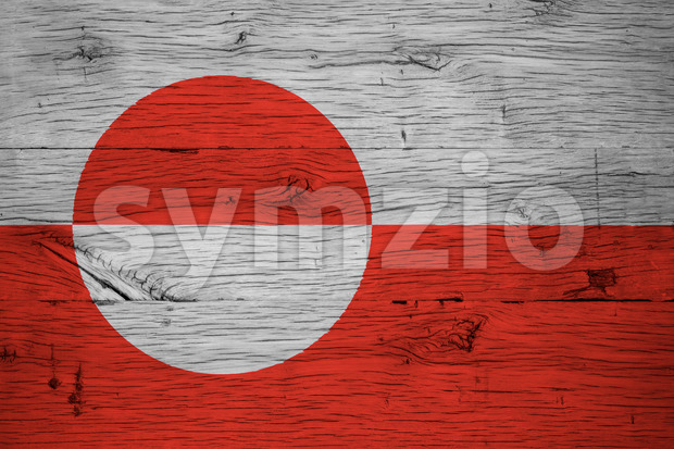 Greenland national flag painted old oak wood Stock Photo