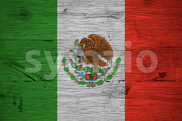 Mexico national flag painted old oak wood Stock Photo