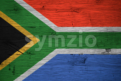 South Africa national flag painted on old oak wood Stock Photo