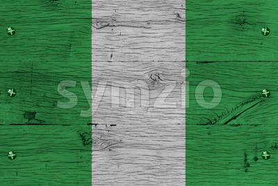 Nigeria national flag painted old oak wood fastened Stock Photo