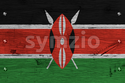 Kenya national flag painted old oak wood fastened Stock Photo