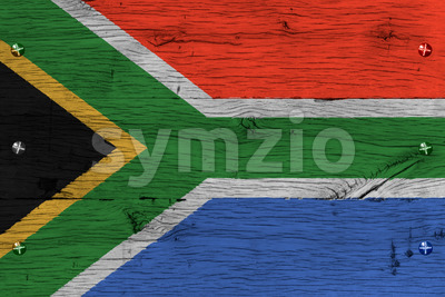 South Africa national flag painted old oak wood fastened Stock Photo