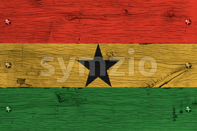 Ghana national flag painted old oak wood fastened Stock Photo