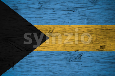 Bahamas national flag painted old oak wood Stock Photo