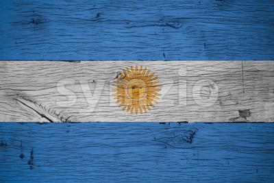 Argentina national flag painted old oak wood Stock Photo