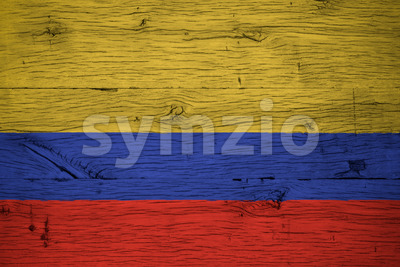 Colombia national flag painted old oak wood Stock Photo