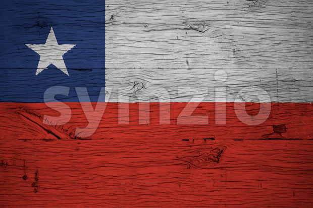 Chile national flag painted old oak wood Stock Photo