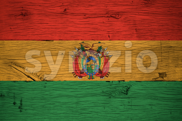 Bolivia national flag with coat of arms or crest painted on old oak wood. Painting is colorful on planks of ...