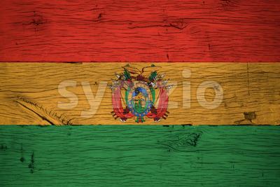 Bolivia national flag painted old oak wood Stock Photo