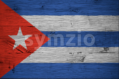 Cuba national flag painted old oak wood Stock Photo