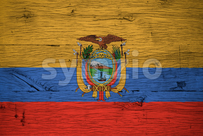 Ecuador national flag painted old oak wood Stock Photo