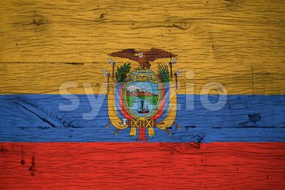 Ecuador national flag painted old oak wood Stock Photo