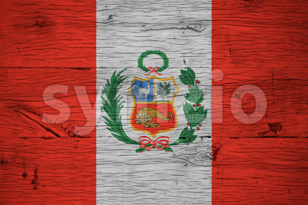 Peru national flag painted old oak wood Stock Photo