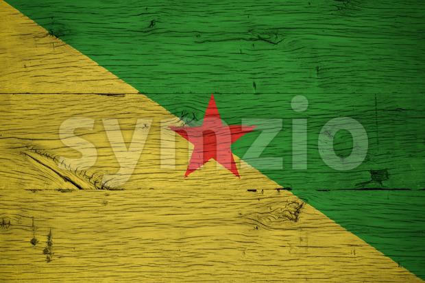 French Guiana national flag painted old oak wood Stock Photo