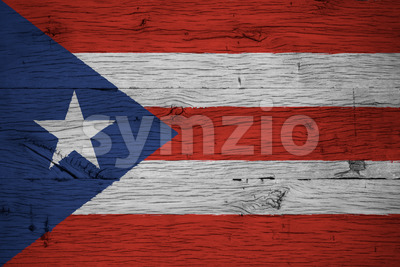Puerto Rico national flag painted old oak wood Stock Photo