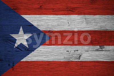 Puerto Rico national flag painted old oak wood Stock Photo