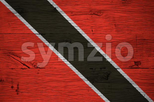 Trinidad Tobago national flag painted old oak wood Stock Photo