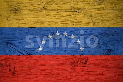 Venezuela national flag painted old oak wood Stock Photo