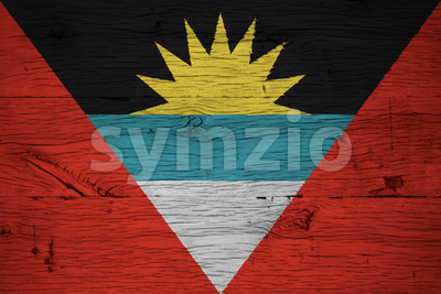 Antigua and Barbuda national flag painted old oak wood Stock Photo