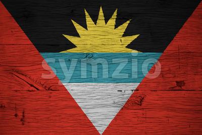 Antigua and Barbuda national flag painted old oak wood Stock Photo