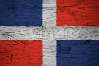 Dominican Republic national flag painted old oak wood Stock Photo