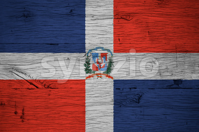 Dominican Republic national flag coat arms painted old oak wood Stock Photo