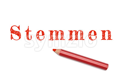 Stemmen text sketch red pencil Stock Photo