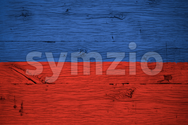 Haiti national flag painted old oak wood Stock Photo