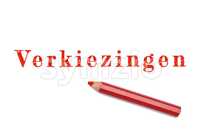 Verkiezingen text sketch red pencil Stock Photo