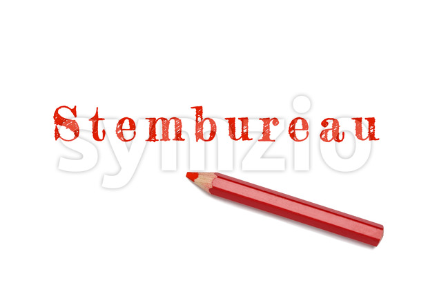 Stembureau text sketch red pencil Stock Photo
