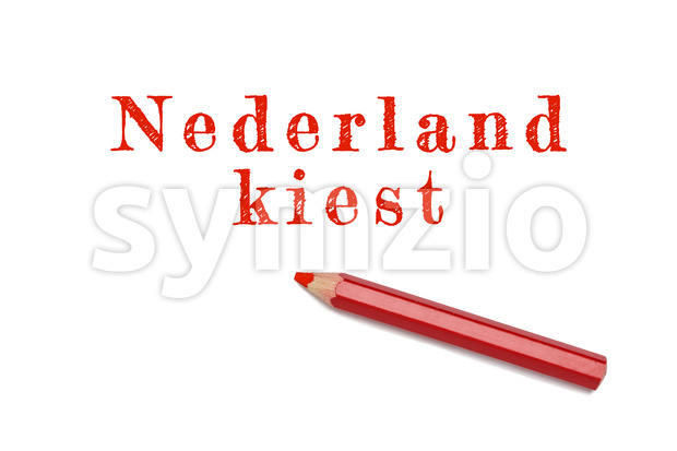 Nederland kiest sketch text for election The Netherlands written red pencil white background. Concept vote, election, choice.