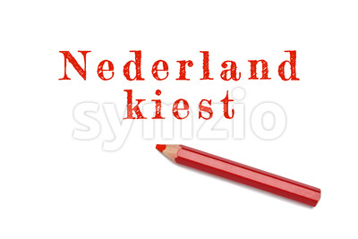 Nederland kiest text sketch red pencil Stock Photo