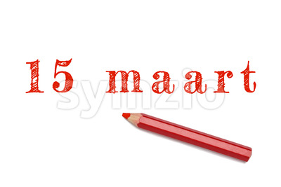 15 maart text sketch red pencil Stock Photo