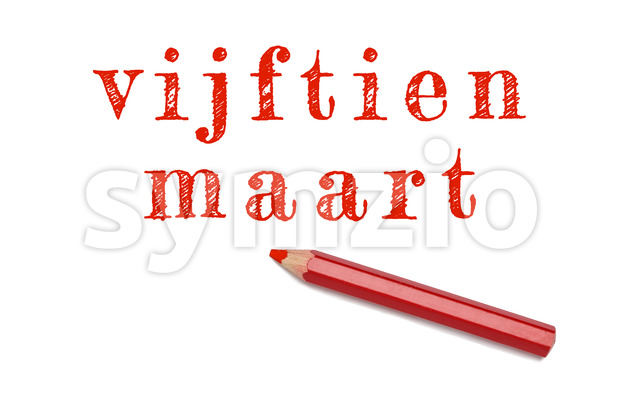 Vijftien maart text sketch red pencil Stock Photo