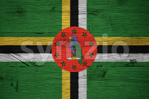 Dominica national flag painted old oak wood Stock Photo