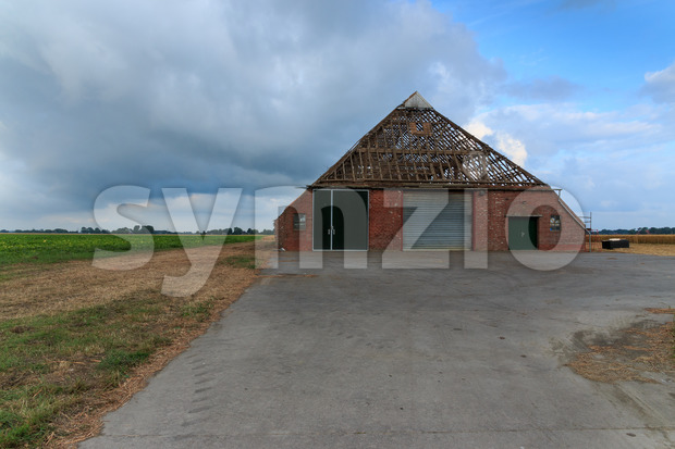 Farm without tiles on roof in The Netherlands Stock Photo