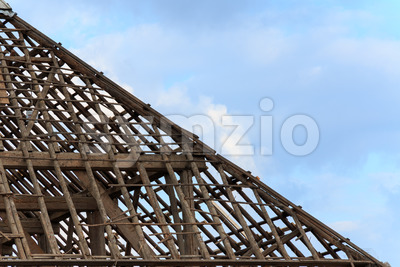 Close up roof of farm without tiles Stock Photo