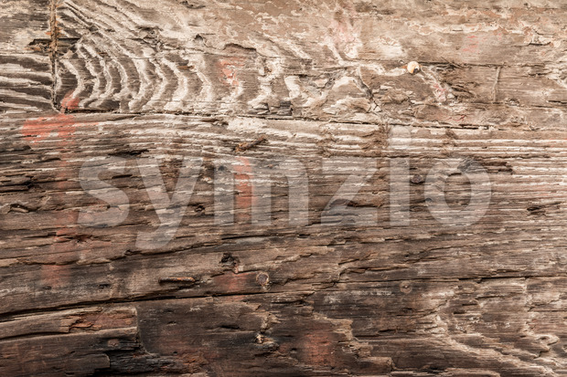 Close-up of old, worn and damaged wood texture