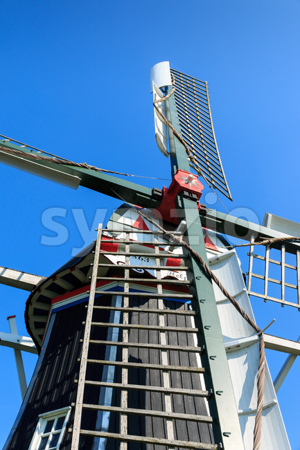Close up head of historic windmill The Netherlands Stock Photo